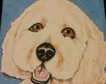 Pet Portrait Painting 12x12 CUSTOM, pet memorial, pet loss, cat, dog, puppy, best friend
