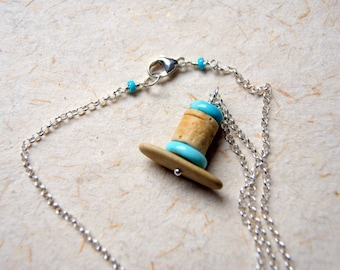 Turquoise, River Stone and Crinoid Stem Cairn Necklace - Sleeping Beauty Turquoise - sterling silver chain