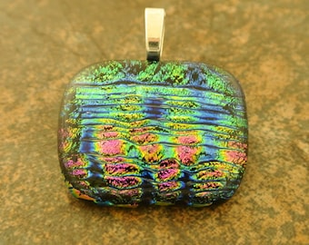 Fused Glass Jewelry - Multicolored Sparkling Dichroic Fused Glass Pendant on Solid Sterling Silver Chain - Fused Glass Necklace