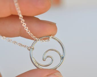 silver wave necklace, silver wave, gold wave, wave pendant, beach necklace, summer jewelry, surf necklace ,gold necklace