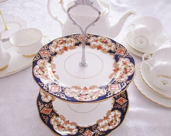 2 TIER CAKE STAND by Royal Albert, 1930's Crown China Heirloom pattern tea stand, tea parties or high tea, excellent condition