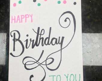 Calligraphy Birthday Card