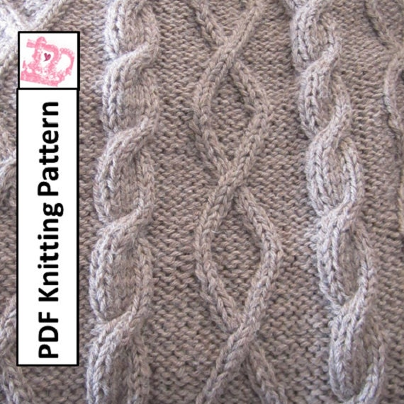 Pdf Knitting Pattern Cable Knit Blanket Patterndiamonds And