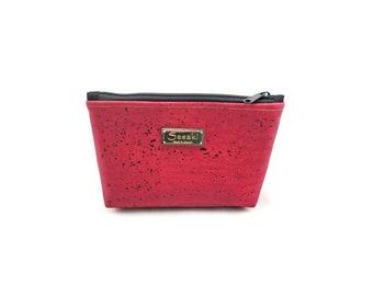 """9"""" x 5"""" - Burgandy Red Cork Gadget Bag - zipper pouch - Bag organizer"""