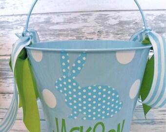 Monogrammed Blue Polka Dot Bunny Easter Bucket