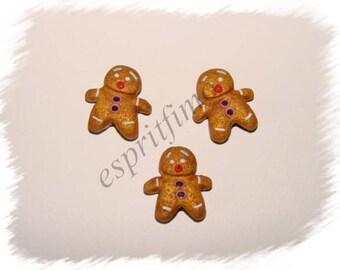 """Button """"Mr mini gingerbread man"""" in fimo"""