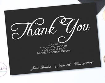 High School Graduation Thank You Cards, Personalized Thank You Cards, 2018 Graduation Thank You Cards, Thank You Cards Graduation, Printable