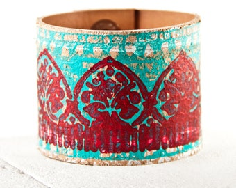 Turquoise & Coral Bracelets Cuffs - Leather Jewelry Teal Red Wrist Cuff
