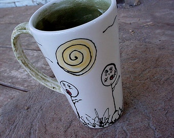 I heart zombies latte mug pottery mug large zombie cup MADE TO ORDER