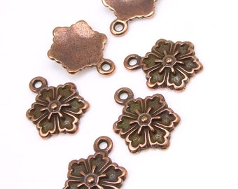 Copper Flower Charms - 16mm Tall TierraCast SNOWFLAKE FLOWER Drops - Antique Copper Charms - Single Sided Pewter Charm (P762)