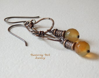 Small Stone Earrings, Orange and Green Agate, Rustic Copper, Everyday Bohemian Earrings, Lightweight
