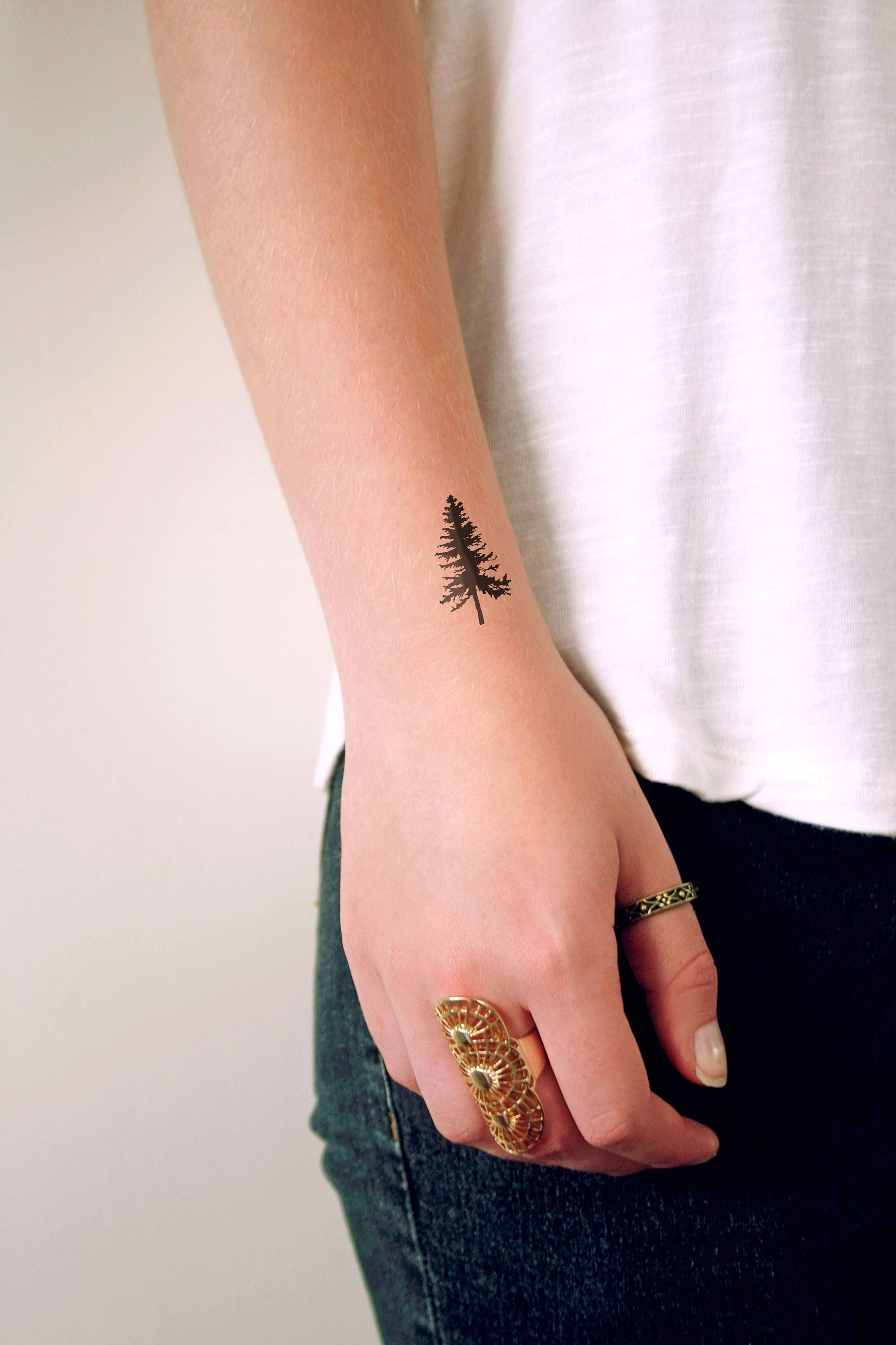 pine tree temporary tattoo / pine tree tattoo / boho tattoo /