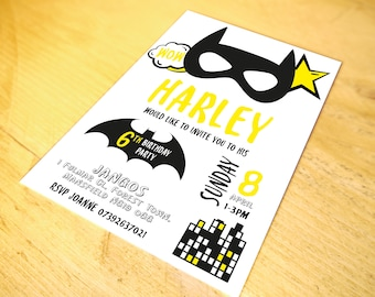 Batman Superhero Party Invitations • Qty 150+ • including Envelopes