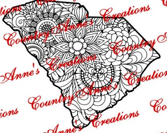 """SVG PNG DXF Eps Ai Wpc Cut file for Silhouette, Cricut, Pazzles, ScanNCut  """"South Carolina State Zentangle"""" svg -  can do any state"""
