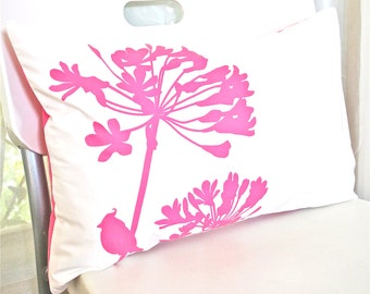 Limited Time Sale Hot Pink Print on Off White Cotton Cardinal on Agapanthus Rectangle Pillow