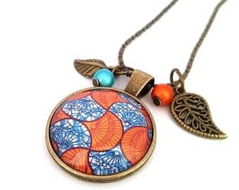 Bronze necklace • blue and orange wax • cabochon