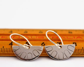 Geometric sterling silver earrings half moon semi circle geo dangle earrings