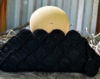 Black Crochet Clutch, 1940s Black Purse, Black Clutch, Black Corde Purse, 40s Purse, Vintage Clutch, Gift for Her, Vintage Handbag,