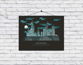 Harry Potter Hogwarts Art Minimal Unique Poster