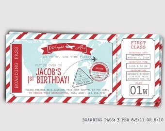 Boarding Pass Plane Ticket Birthday Invitation