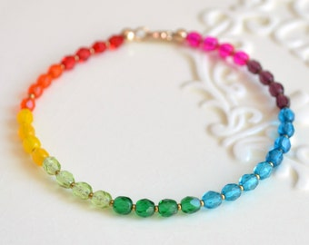 Bright Rainbow Bracelet, Beaded Jewelry, Colorful Czech Glass Beads, Gift for Women, Fun Summer Jewelry