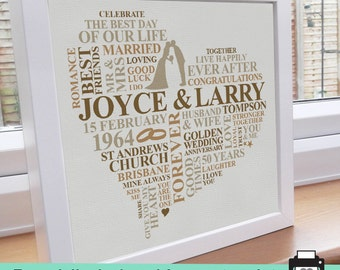 Printable file - Golden Anniversary Word Art. Unique personalised typography design print gift. 50 years anniversary gift.