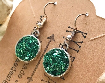 Green Glass Earrings, Druzy Look Earrings, Sparkle Emerald Earrings, Kyleemae Designs Earrings