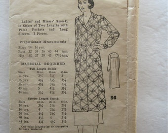 20s 30s Vintage Smock Women's Long Artist Smock Dress In 2 Lengths Sewing Pattern W. T. Grant # 56 Long Sleeve House Dress Cover Up 36 Bust