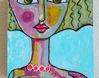 "Abstract Girl Portrait Original Mixed Media Art Acrylic Painting On 8x8 Wood Panel ""Hot Lips"" Turquoise Pink Art by Charlotte Littlejohn"