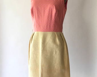 vintage 1960s dress / 60s pink polka dot print mod dress / size small medium
