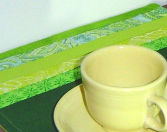 Art Deco placemats, green quilted mats, cotton placemats, green table art, quilted table mats, cotton placemats