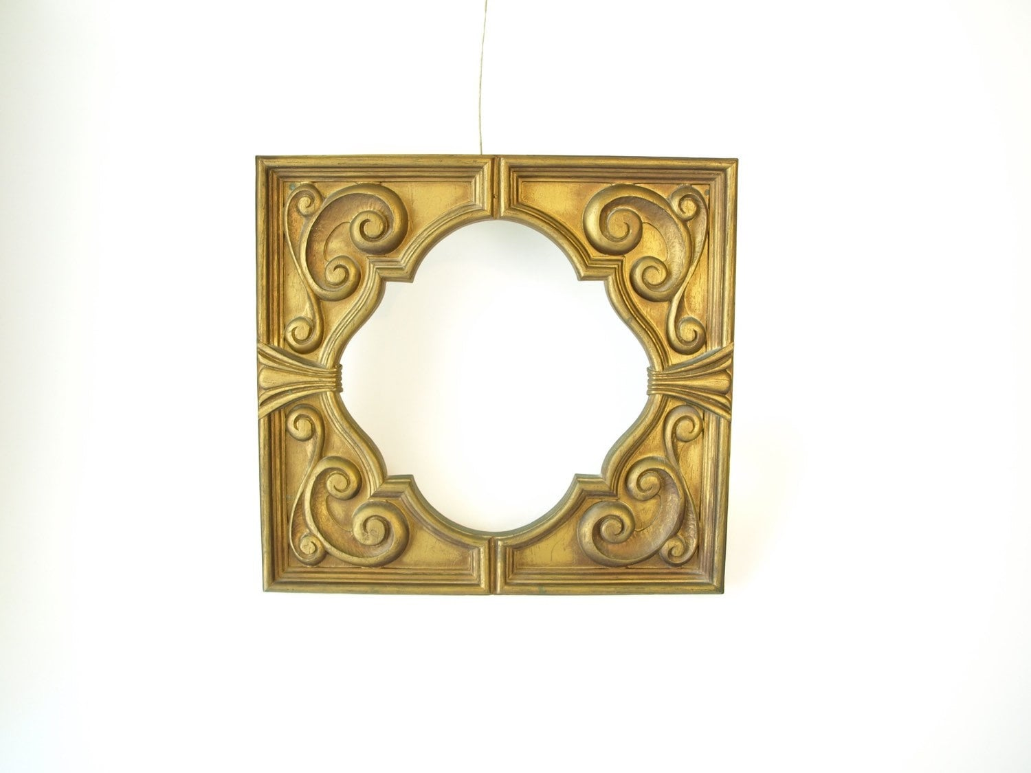 Vintage 70s picture frame ornate faux wood gold scroll square ...