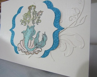 Mermaid Hand Made Card - Aqua