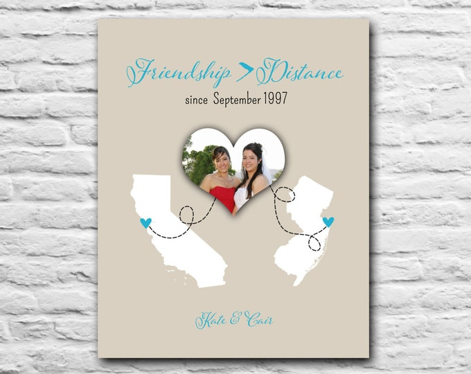 Best Friend Gift - 8x10 Print - Friendship Greater Than Distance - Personalized Gift, Going Away Gift, State Map Long Distance Gift - BFF