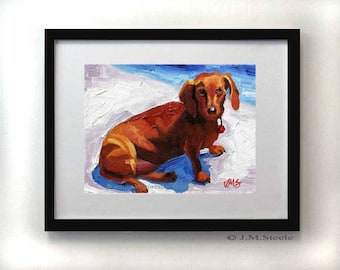 Dachshund art, Dachshund Painting, Dachshnd Art Print, Weiner Dog Painting, Hot Dog Print, Giclee Art Print 5 x 7  Dog Art by Jemmas Gems