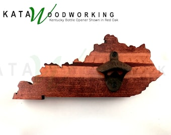 Kentucky Shaped Wood Cut-out Bottle Opener - Wall Mount - Handmade!