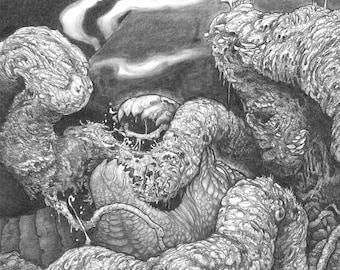 "8""x10"" archival art print ""Yggdrasil and Nidhogg"" / nordic mythology serpent dragon creature world tree monster fantasy"