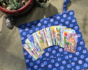 Sunburst Outer with Moon Phases inner - Tarot Deck travel Pocket Mat- Tarot Pouch