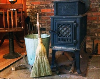 Fireplace Broom in your choice of Natural, Black, Rust or Mixed Broomcorn - Hearth Broom