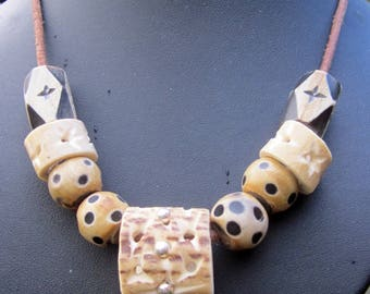 Antler and wood beads necklace
