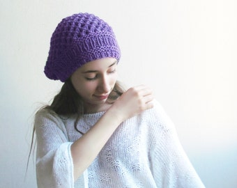 Slouchy Beanie / Knitted  Hat / Woman Winter hat / Purple hat /  33 DIFFERENT COLORS