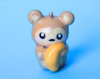 Monkey charm - clay monkey - animal charm - cute animal charm - polymer clay charm - cute jewelry- kawaii jewelry - dustplug - clay keychain