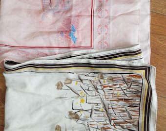 Vintage Italian Scarves...1950's TWO Ladies Vintage Long Scarves original BOTH from ITALY