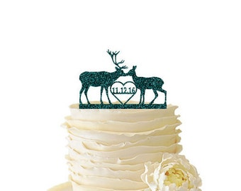 Glitter Kissing Deer with Initials or Date - Buck And Doe -  Acrylic Wedding/Special Event Cake Topper - 099