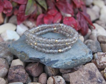 Irredencent gray crystal beaded bracelets