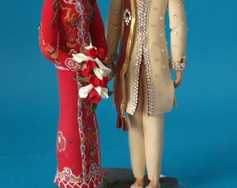 Personalised Asian Couple Wedding Cake Topper