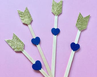 Gold Arrow Drink Stir Sticks - Gold and Navy Stir Sticks - Champagne Stir Sticks
