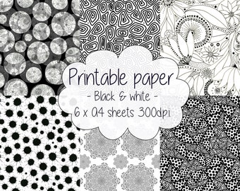 Printable paper: Black and white set