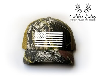 Mossy Oak Camo with American Flag Hat