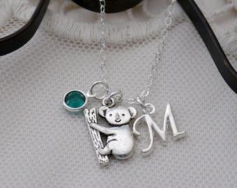 Koala Necklace, Personalized Koala Necklace, Koala Bear Necklace, Letter Birthstone, Koala Initial Necklace, Koala Gift, Koala, Custom